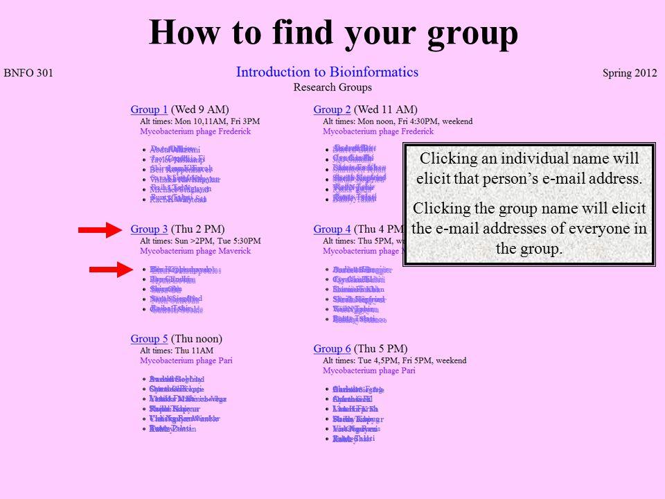 How to find your group Darrell Britt Jay Gandhi Shirmeen Khan Sarah Siegfried Raiha Tahir Bunty Talati Eleni Galanopoulos Ryan Loviza Sara Oh Nick San