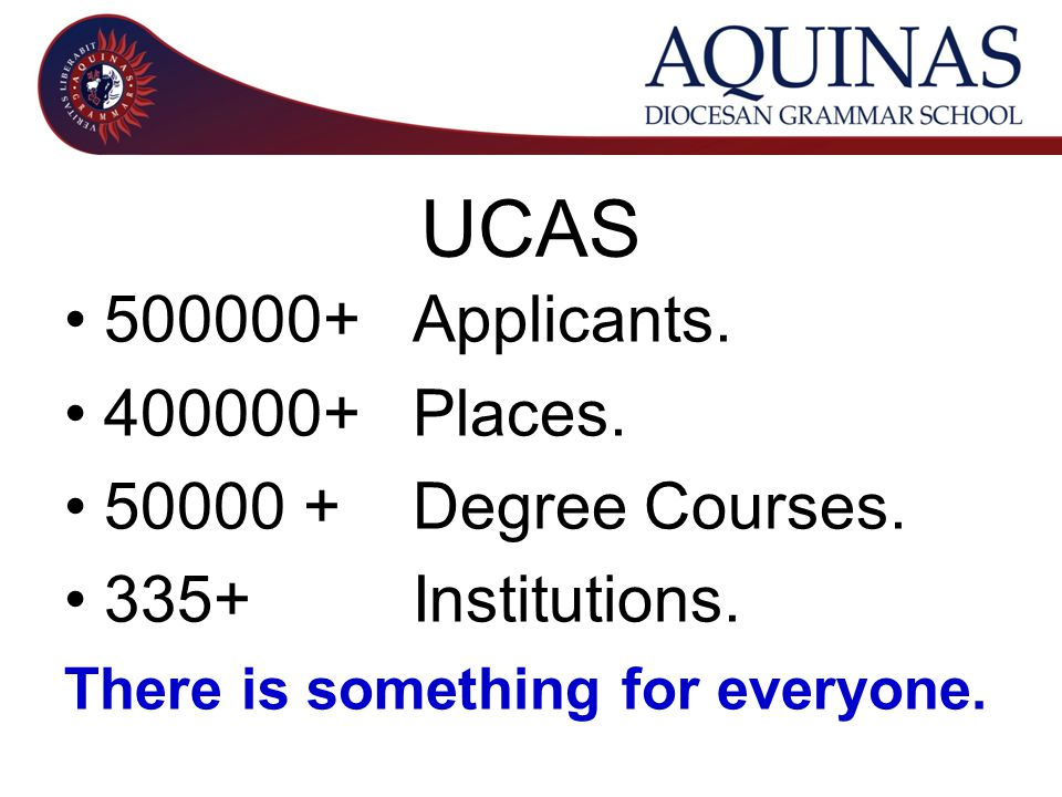 UCAS 500000+ Applicants. 400000+ Places. 50000 + Degree Courses.