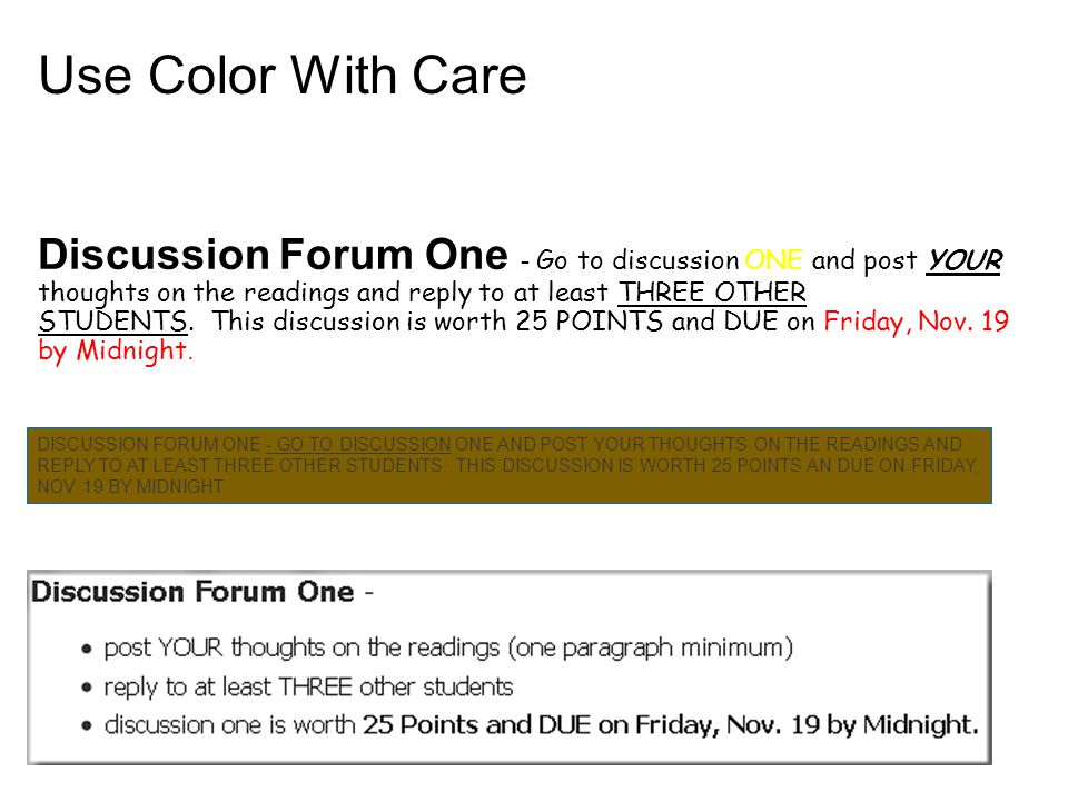Discussion Forum One - Go to discussion ONE and post YOUR thoughts on the readings and reply to at least THREE OTHER STUDENTS.