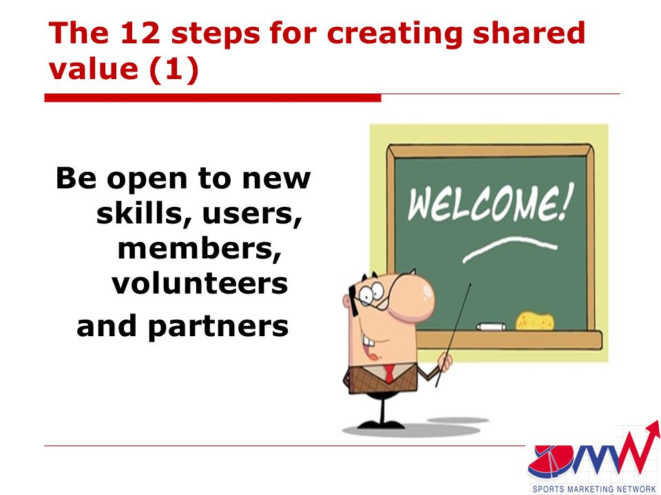 The 12 steps for creating shared value (1) Be open to new skills, users, members, volunteers and partners
