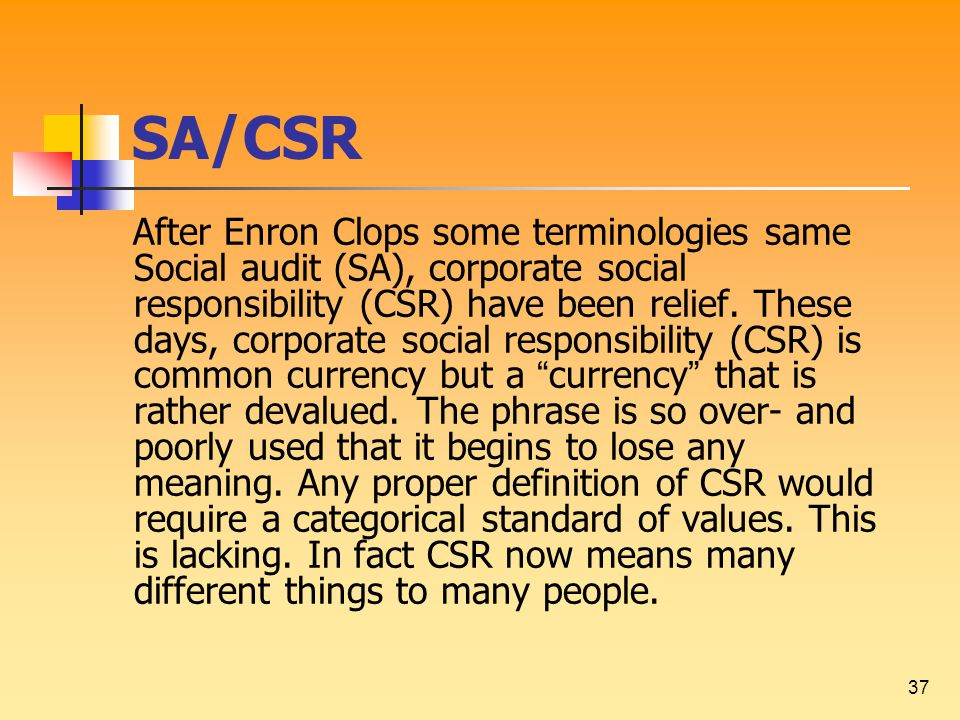 37 SA/CSR After Enron Clops some terminologies same Social audit (SA), corporate social responsibility (CSR) have been relief.