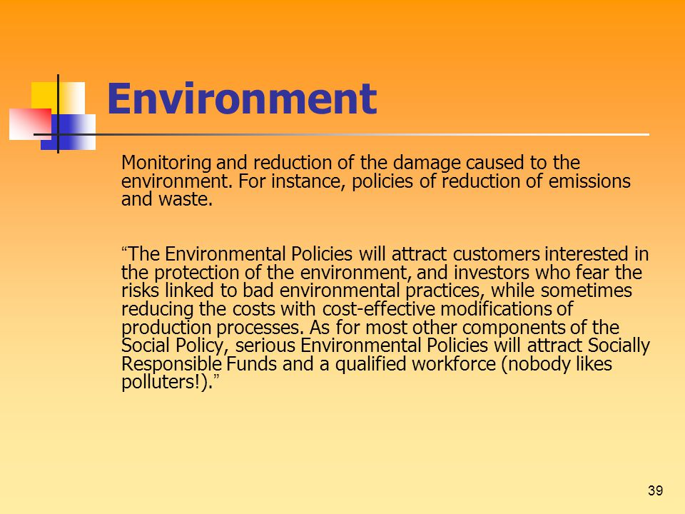 39 Environment Monitoring and reduction of the damage caused to the environment.