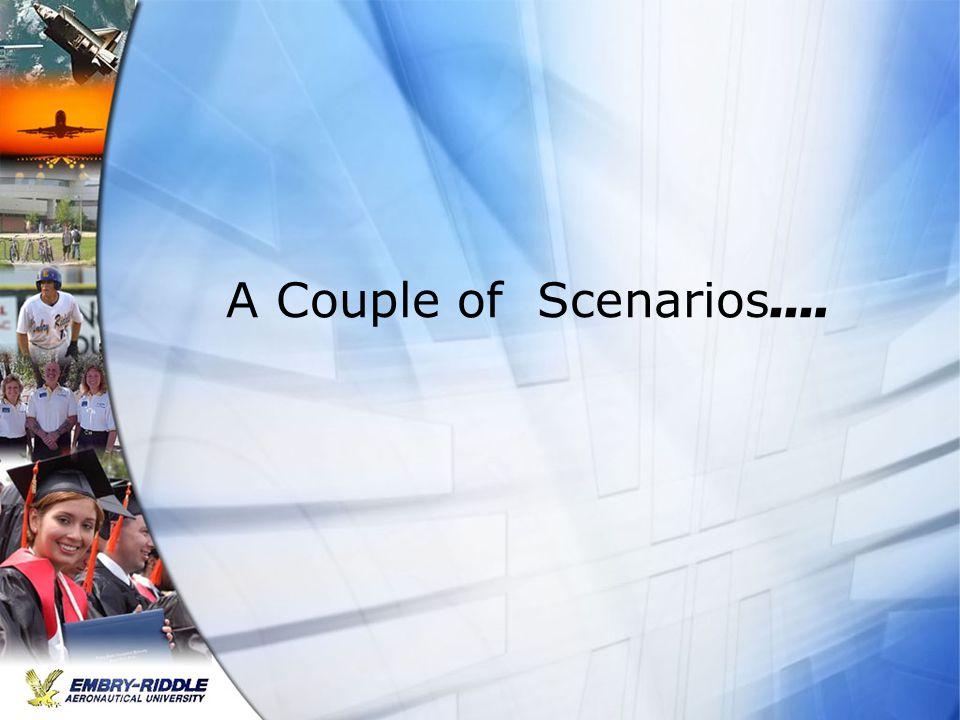 A Couple of Scenarios ….