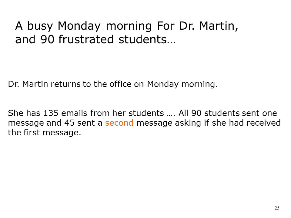 Dr.Martin returns to the office on Monday morning.