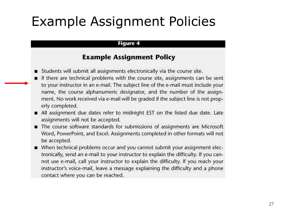 Example Assignment Policies 27