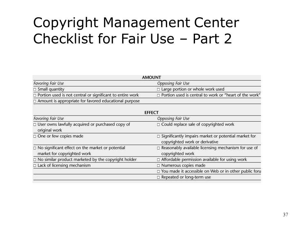 Copyright Management Center Checklist for Fair Use – Part 2 37