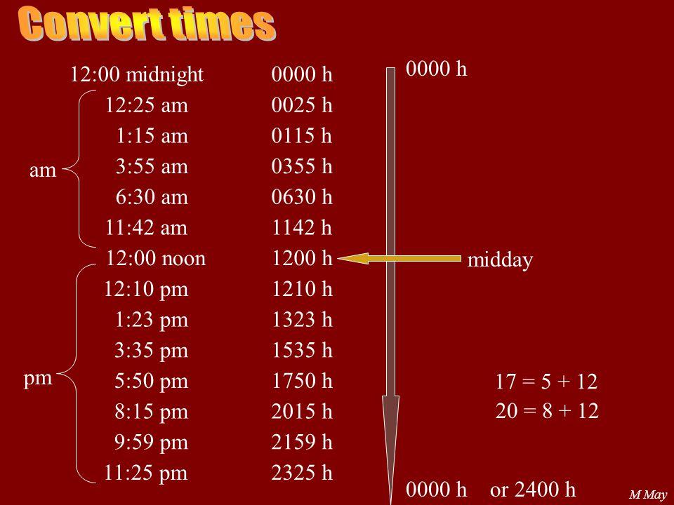M May 12:00 midnight 12:25 am 1:15 am 3:55 am 6:30 am 11:42 am 12:00 noon 12:10 pm 1:23 pm 3:35 pm 5:50 pm 8:15 pm 9:59 pm 11:25 pm 0000 h 0025 h 0115