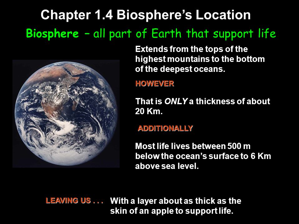 Biosphere – all part of Earth that support life Chapter 1.4 Biosphere's Location Extends from the tops of the highest mountains to the bottom of the deepest oceans.