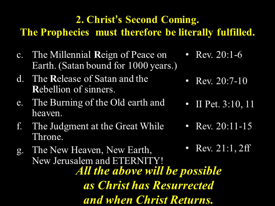 2. Christ's Second Coming. The Prophecies must therefore be literally fulfilled.
