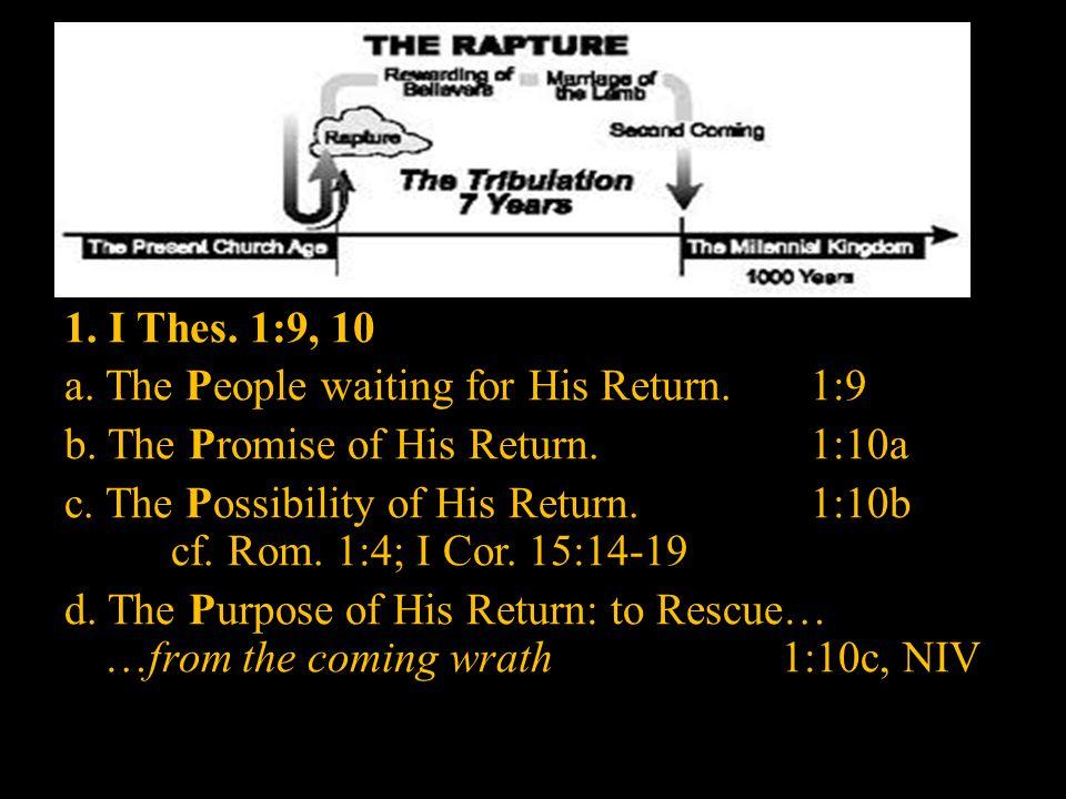 Recapitulation: I.THE RAPTURE A. I N I T HESSALONIANS 1.