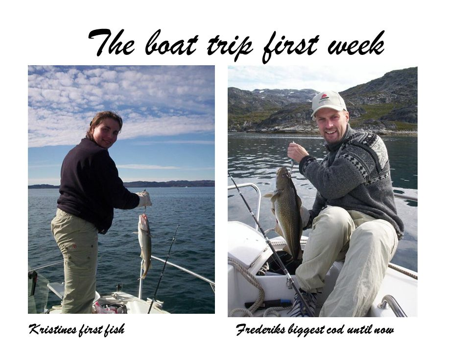 The boat trip first week Kristines first fishFrederiks biggest cod until now