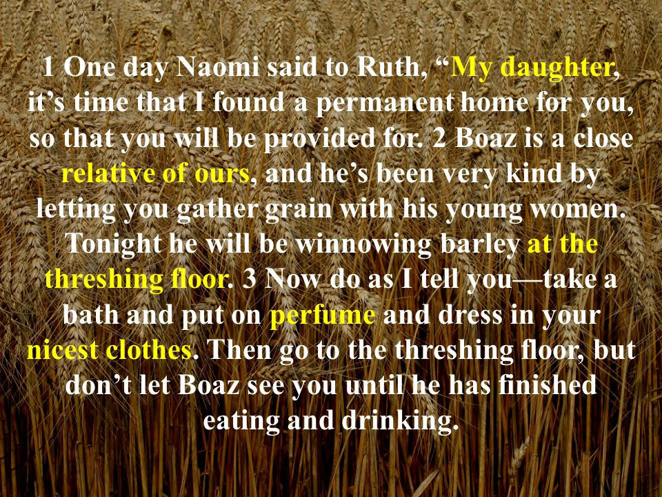 """1 One day Naomi said to Ruth, """"My daughter, it's time that I found a permanent home for you, so that you will be provided for. 2 Boaz is a close relat"""