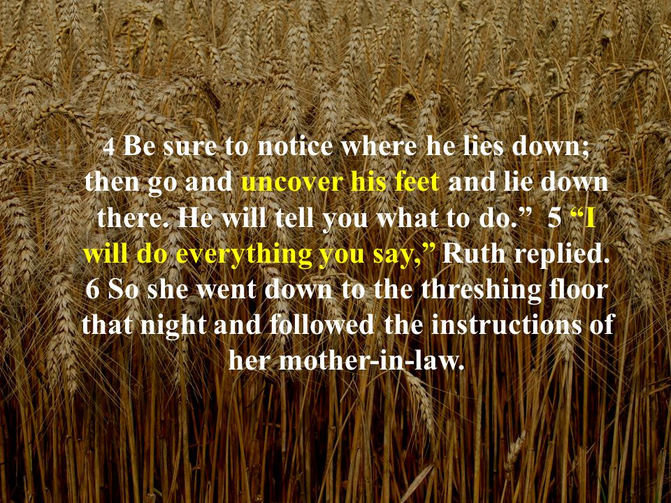 """4 Be sure to notice where he lies down; then go and uncover his feet and lie down there. He will tell you what to do."""" 5 """"I will do everything you say"""