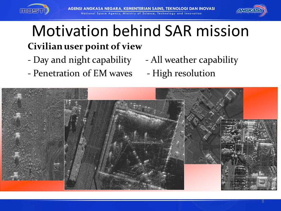The Next Space-based SAR Sensors Generation L-band SAR JAXA : ALOS-2, L-band SAR sensor allowing to get a resolution of 1 m using Spotlight mode INPE (Brazilian National Institute for Space and Research) is proposing an L-band SAR on the SSR-2 Mission with 3 m resolution and 20 km swath.