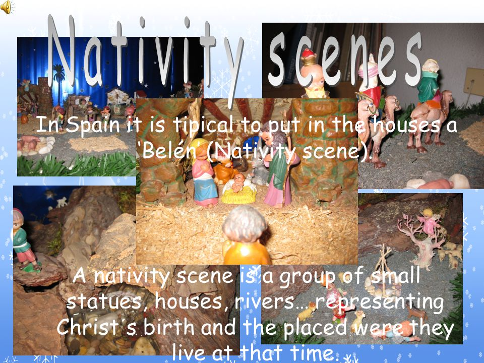 Nativity scenes, christmas lights and christmas trees.