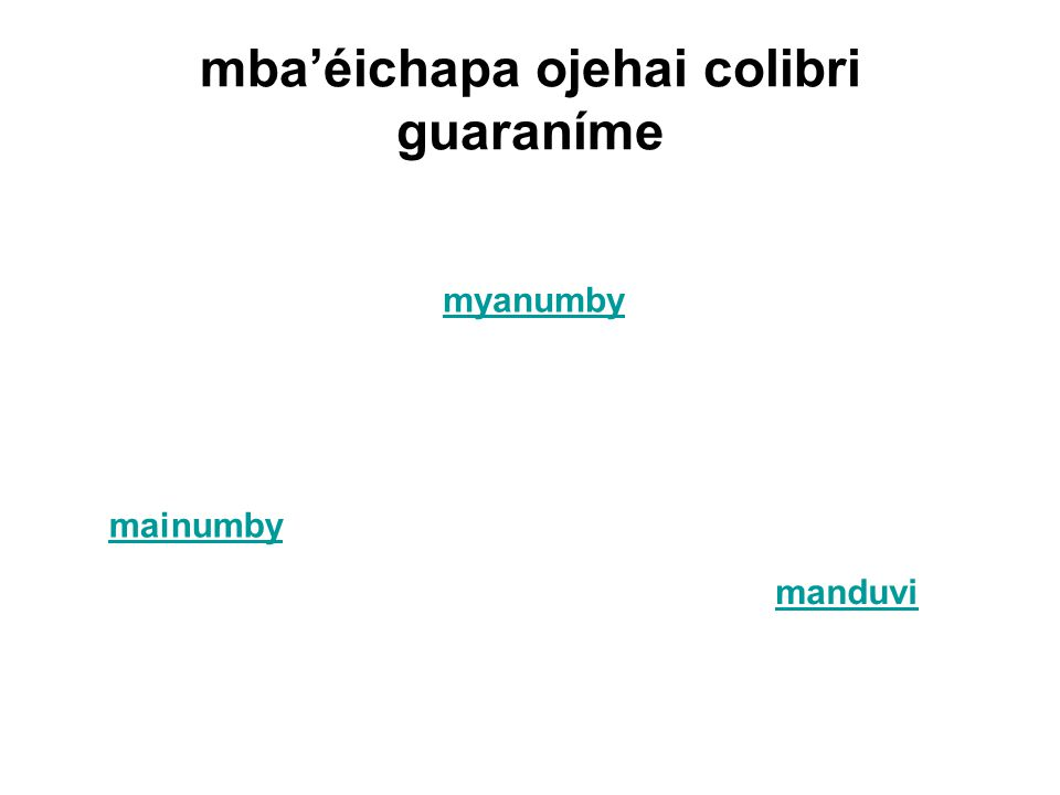 mba'éichapa ojehai colibri guaraníme mainumby myanumby manduvi