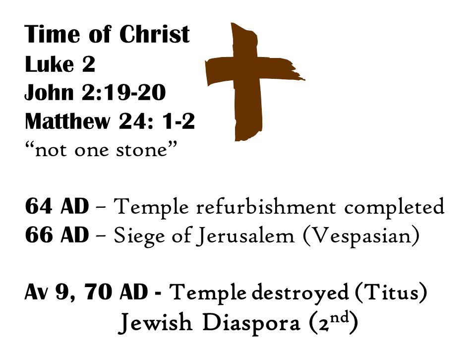 Time of Christ Luke 2 John 2:19-20 Matthew 24: 1-2 not one stone 64 AD – Temple refurbishment completed 66 AD – Siege of Jerusalem (Vespasian) Av 9, 70 AD - Temple destroyed (Titus) Jewish Diaspora (2 nd )