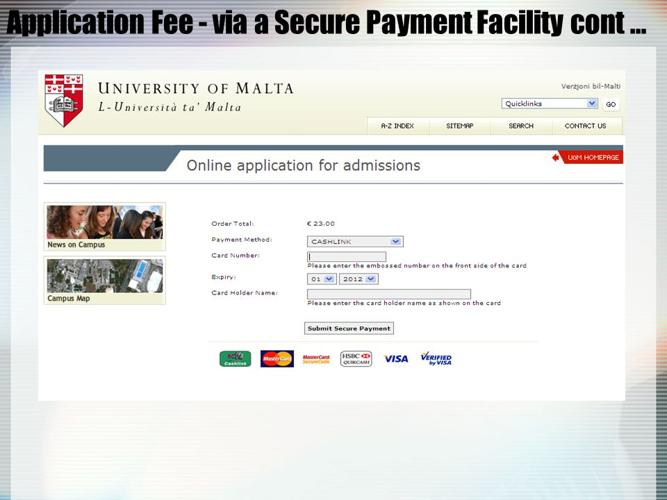 Application Fee - via Internet Banking Please make sure that you write your Name, Surname and I.D.