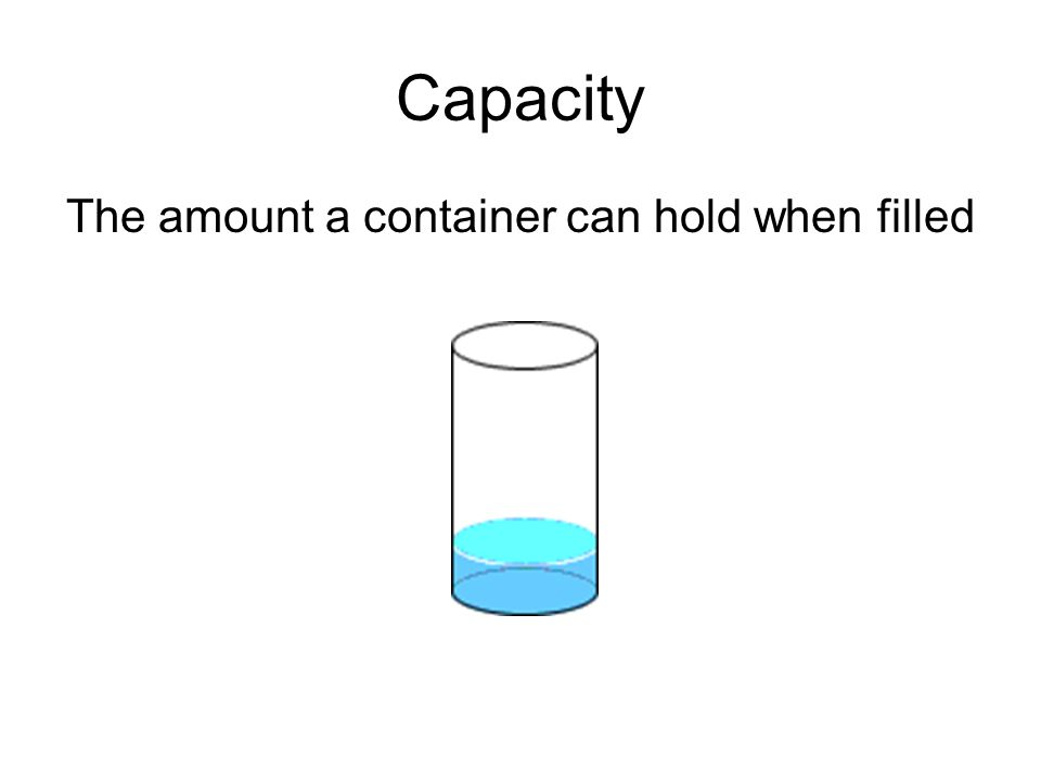 Capacity The amount a container can hold when filled