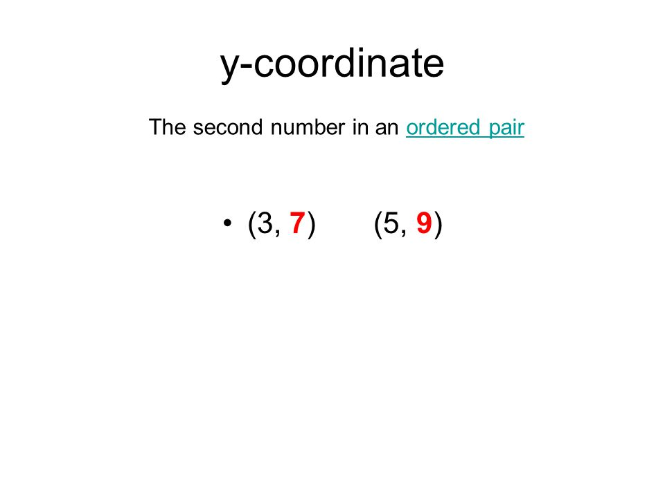 y-coordinate (3, 7) (5, 9) The second number in an ordered pairordered pair