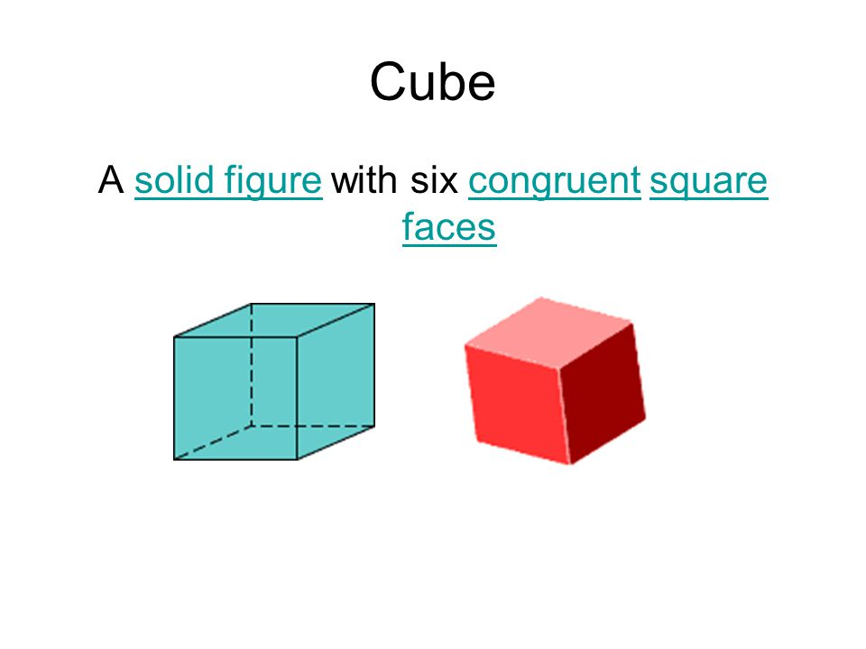 Cube A solid figure with six congruent square facessolid figurecongruentsquare faces