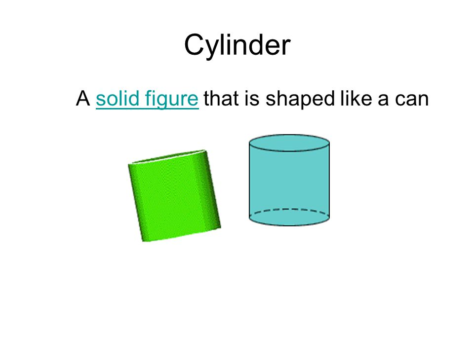 Cylinder A solid figure that is shaped like a cansolid figure