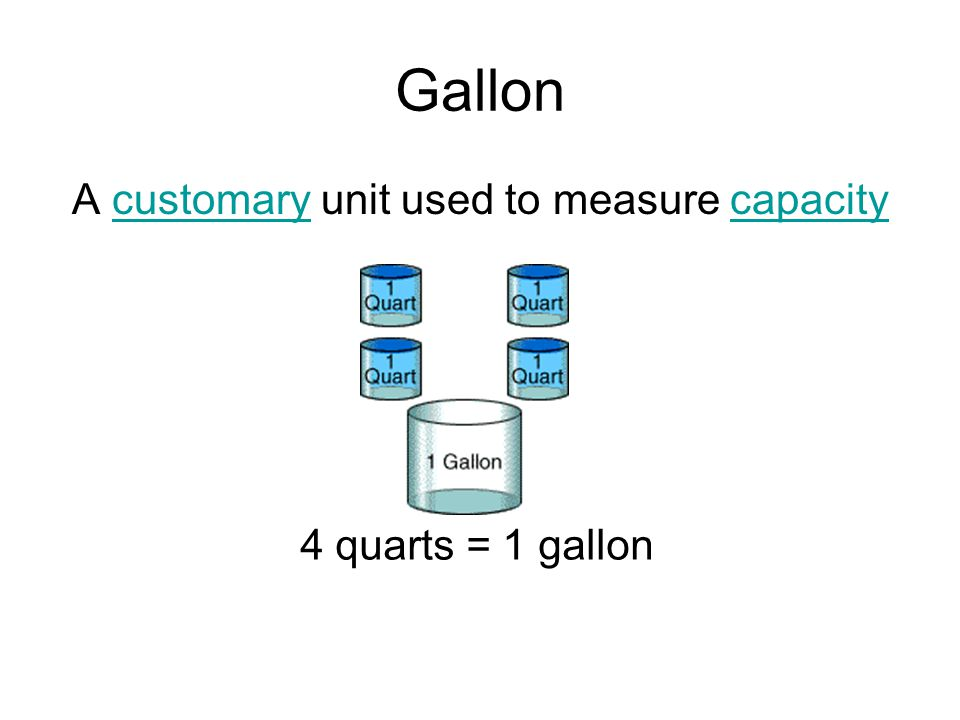 Gallon A customary unit used to measure capacitycustomarycapacity 4 quarts = 1 gallon