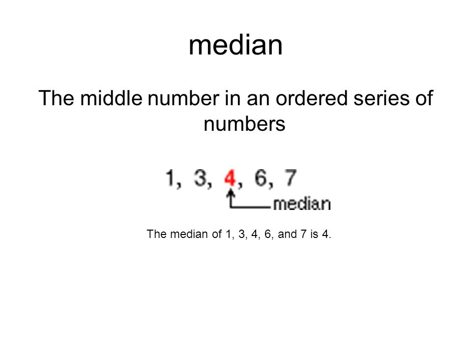 median The middle number in an ordered series of numbers The median of 1, 3, 4, 6, and 7 is 4.