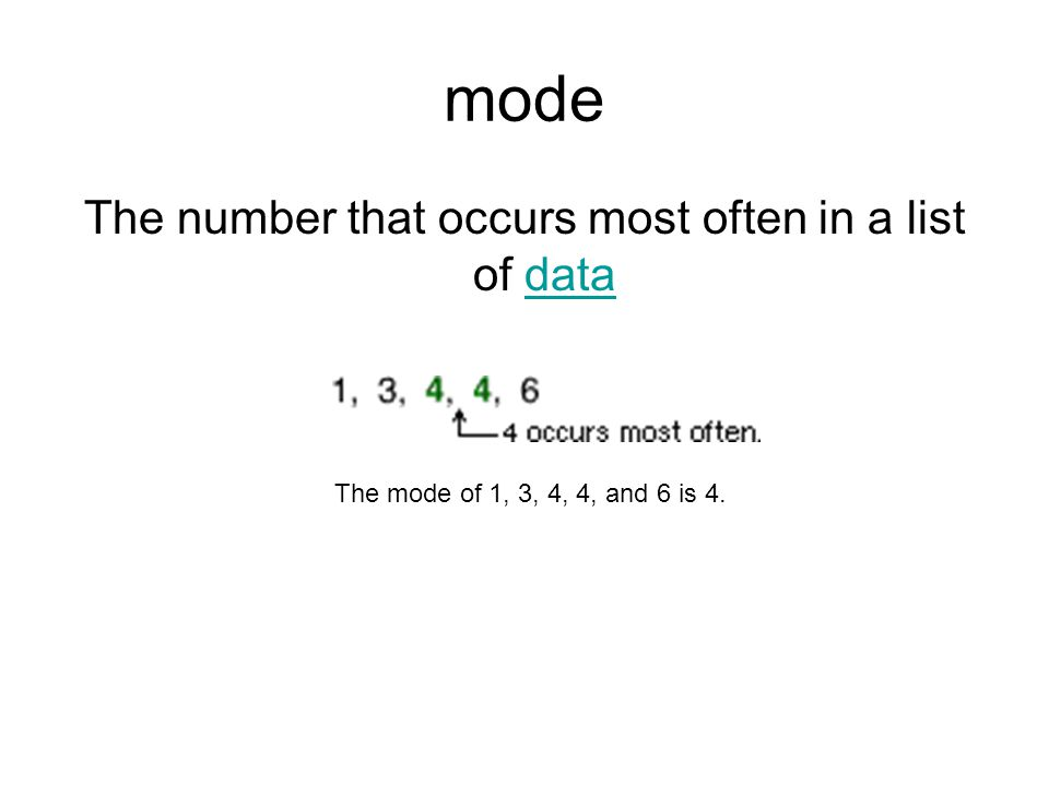 mode The number that occurs most often in a list of datadata The mode of 1, 3, 4, 4, and 6 is 4.