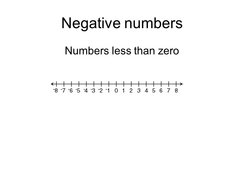 Negative numbers Numbers less than zero