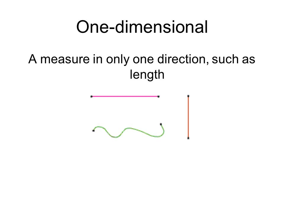 One-dimensional A measure in only one direction, such as length
