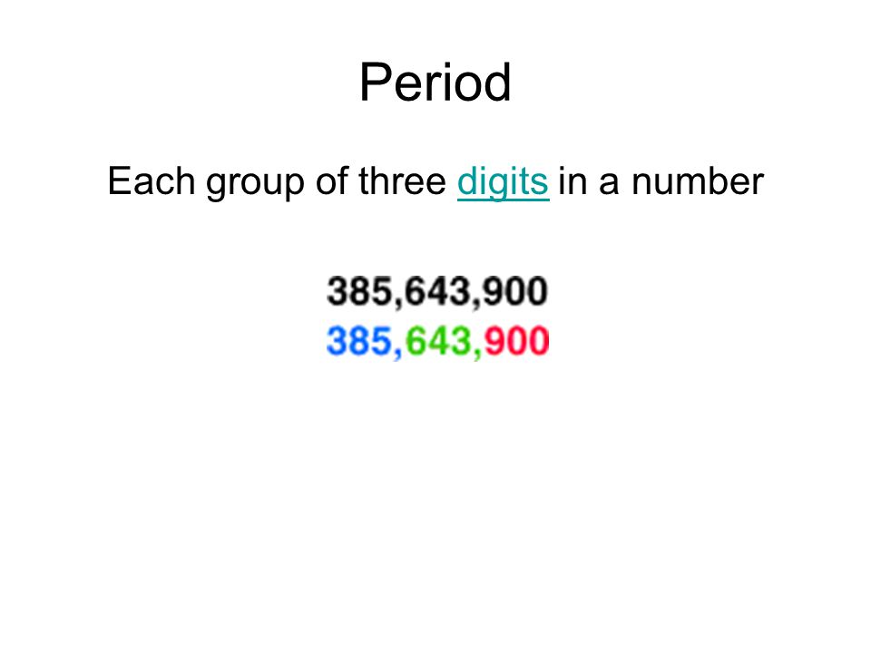 Period Each group of three digits in a numberdigits