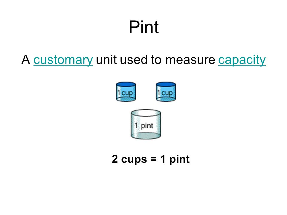 Pint A customary unit used to measure capacitycustomarycapacity 2 cups = 1 pint