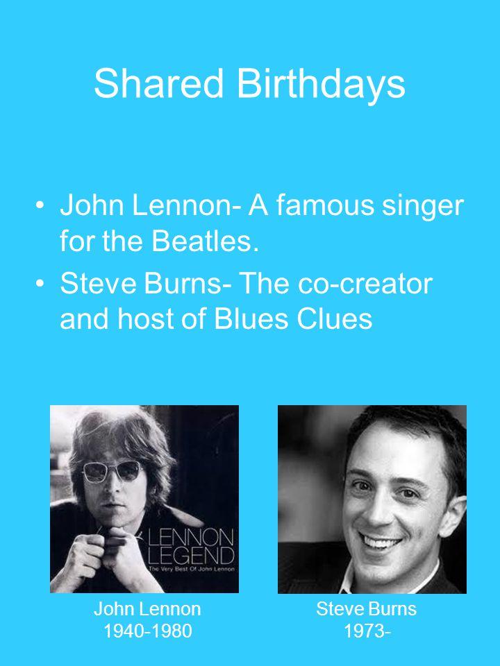 Shared Birthdays John Lennon- A famous singer for the Beatles.