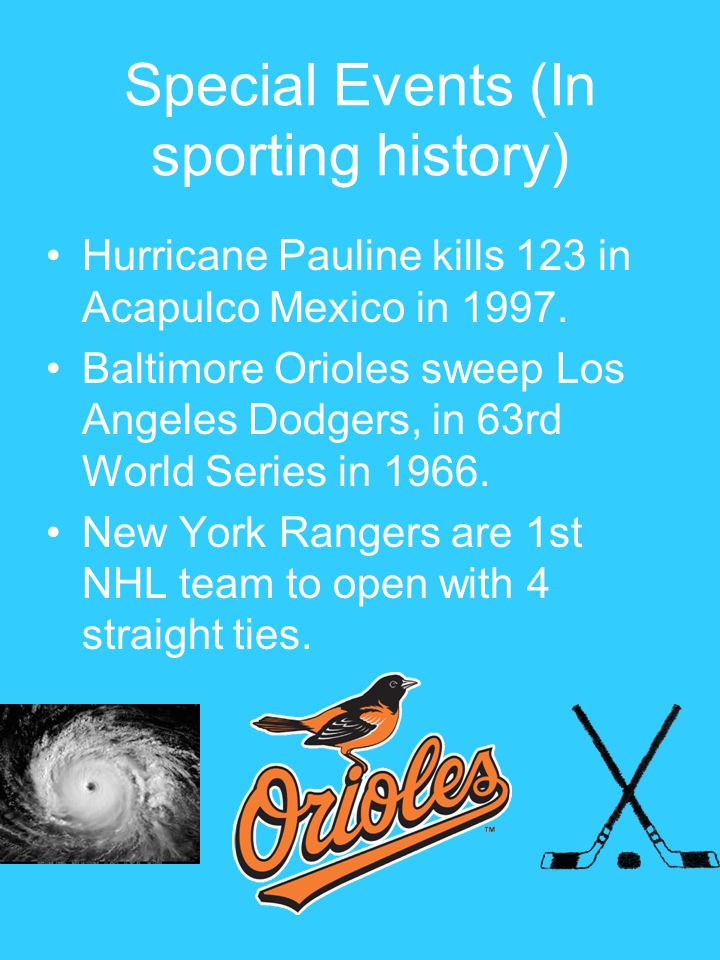 Special Events (In sporting history) Hurricane Pauline kills 123 in Acapulco Mexico in 1997. Baltimore Orioles sweep Los Angeles Dodgers, in 63rd Worl