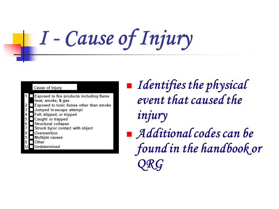 J - Human Factors Contributing to Injury Identifies the physical or mental state of the person that may have contributed to the injury x Human Factors Contributing to Injury J Asleep Unconscious Possibly impaired by alcohol Possibly impaired by other drug Possibly mentally disabled Physically disabled Physically restrained Unattended person Check all applicable boxes None
