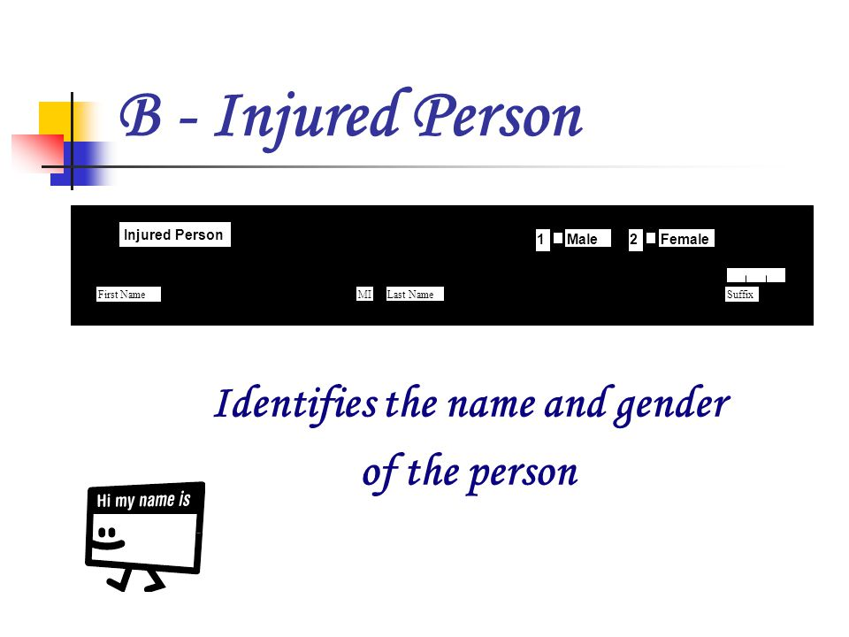 B - Injured Person Identifies the name and gender of the person 1 2 First NameLast NameSuffix Injured Person B MaleFemale1 MI 2