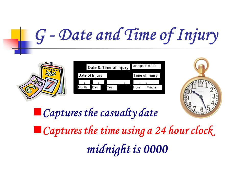 G - Date and Time of Injury Captures the casualty date Captures the time using a 24 hour clock midnight is 0000 21 Bedroom Time of InjuryDate of Injury Date & Time of Injury G Month Midnight is 0000.
