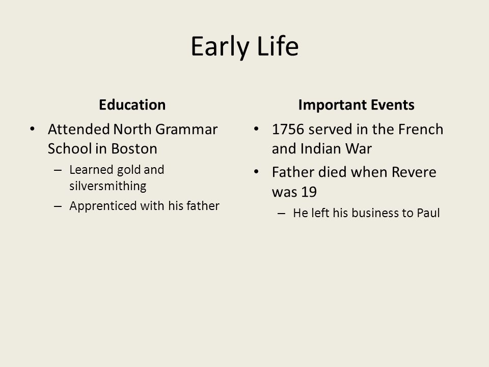 Early Life Education Attended North Grammar School in Boston – Learned gold and silversmithing – Apprenticed with his father Important Events 1756 served in the French and Indian War Father died when Revere was 19 – He left his business to Paul