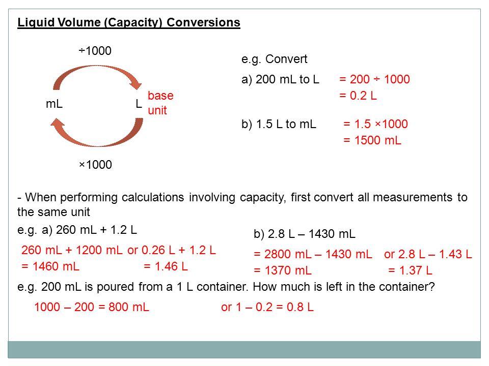 Liquid Volume (Capacity) Conversions mLL ÷1000 ×1000 base unit e.g.