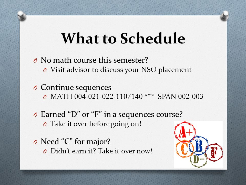 O No math course this semester.