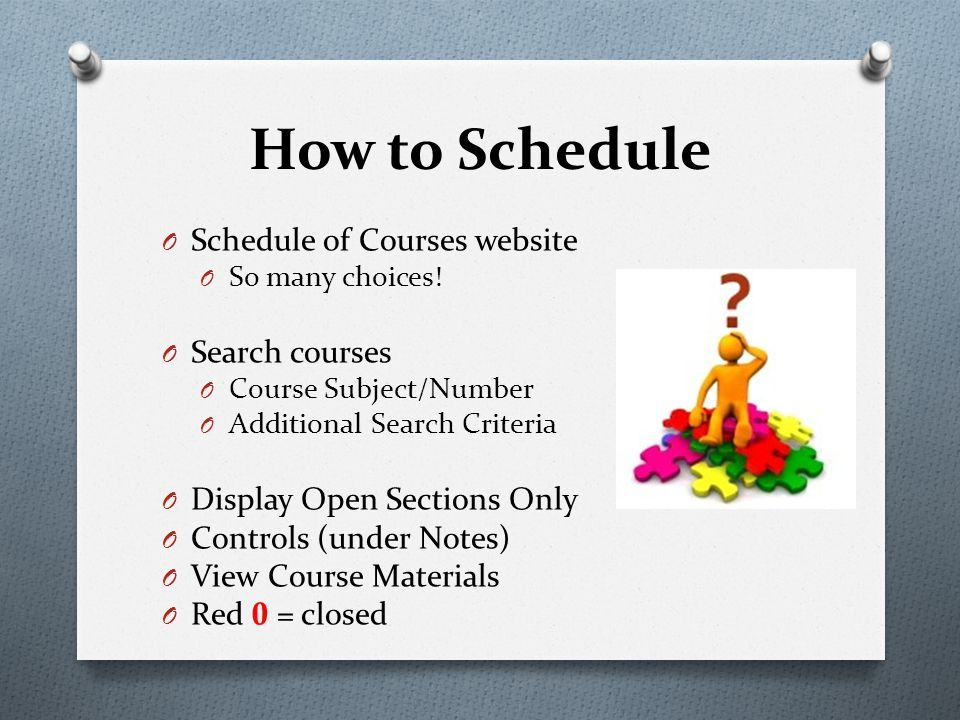 O Schedule of Courses website O So many choices! O Search courses O Course Subject/Number O Additional Search Criteria O Display Open Sections Only O