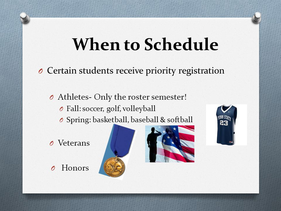O Certain students receive priority registration O Athletes- Only the roster semester! O Fall: soccer, golf, volleyball O Spring: basketball, baseball