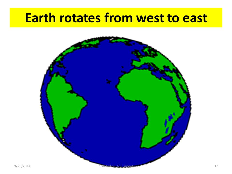 Earth rotates from west to east 9/25/2014created by: R.E. Angat13