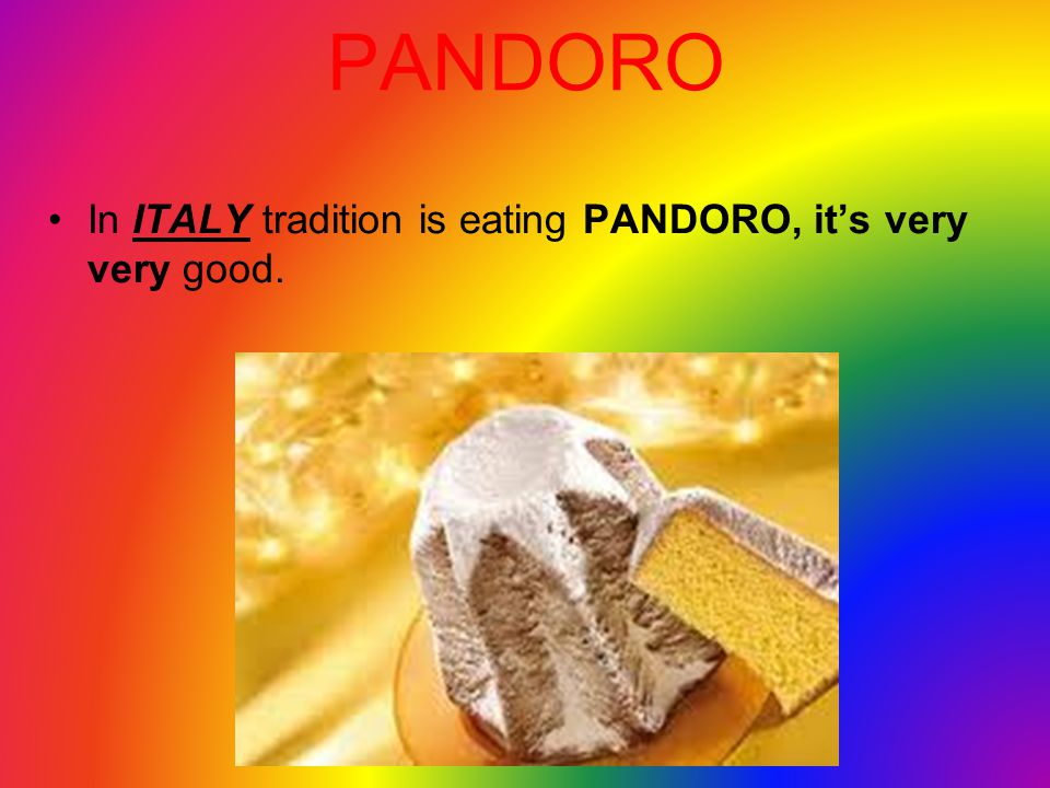 PANDORO In ITALY tradition is eating PANDORO, it's very very good.