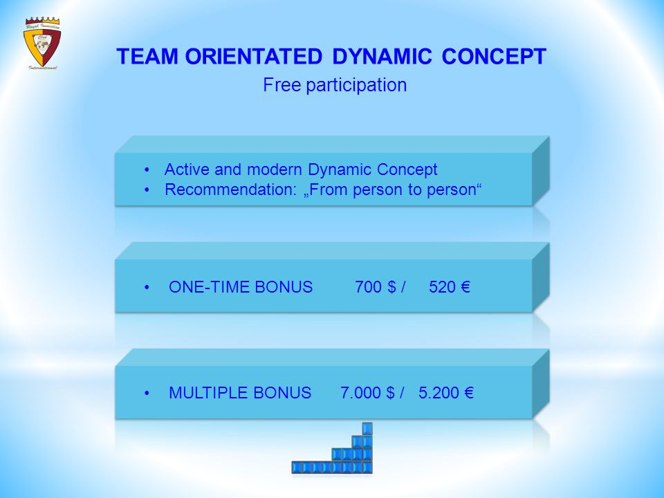 """TEAM ORIENTATED DYNAMIC CONCEPT Free participation Active and modern Dynamic Concept Recommendation: """"From person to person ONE-TIME BONUS 700 $ / 520 € MULTIPLE BONUS 7.000 $ / 5.200 €"""