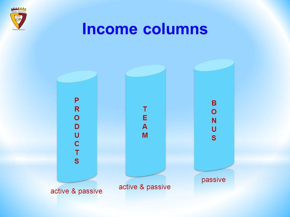 Income columns PRODUCTSPRODUCTS TEAMTEAM BONUSBONUS active & passive passive