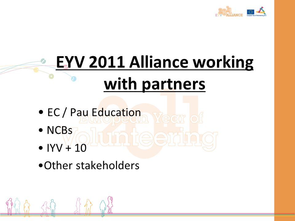 EYV 2011 Alliance working with partners EC / Pau Education NCBs IYV + 10 Other stakeholders