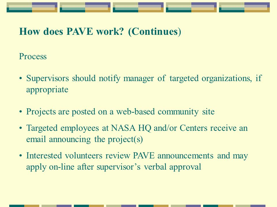 How does PAVE work.