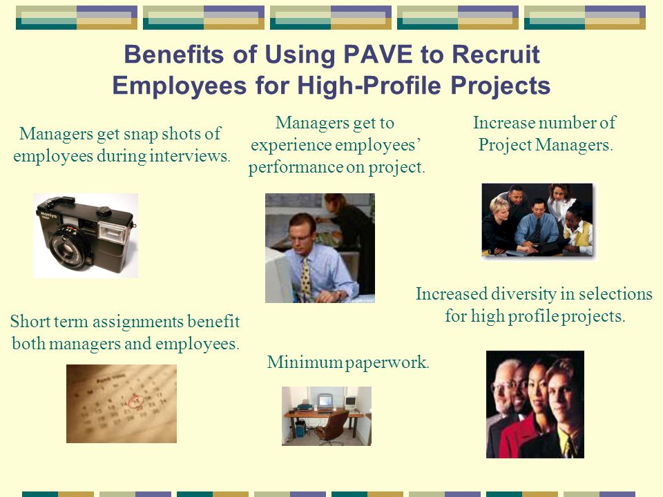 Benefits of Using PAVE to Recruit Employees for High-Profile Projects Managers get snap shots of employees during interviews.